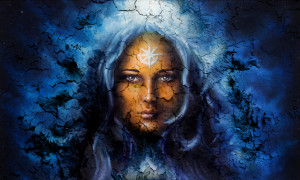 © Jozefart | Dreamstime.com - Mystic Face Women, With Structure Crackle Background Effect, With Star On Forehead, Collage. Eye Contact. Photo