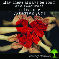 Hands coming together with red heart painted on them and words May there always be room and resources to live our Creative Joy!